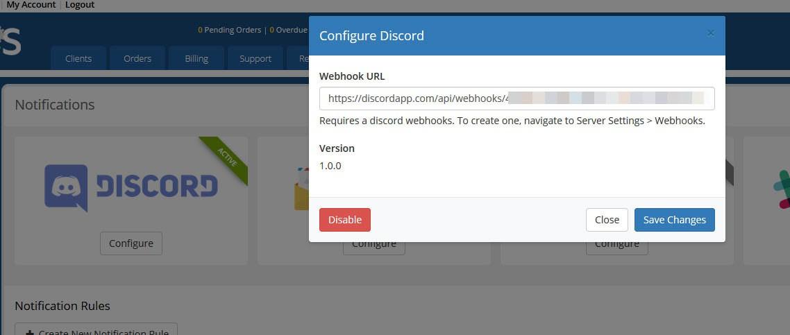 Configure discord notifications